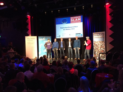 Die Teilnehmer des Science Slams im Wissenschaftsjahr, der am 20.10. im Bonner Pantheon stattfand.
